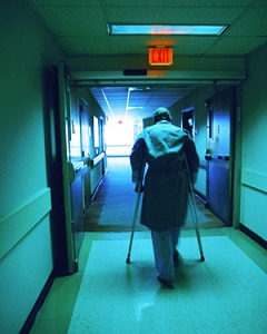 Man on crutches at risk for falls