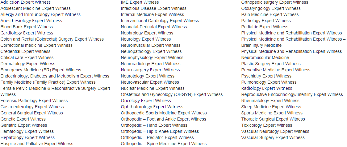 List of Physician Expert Witness Specialties