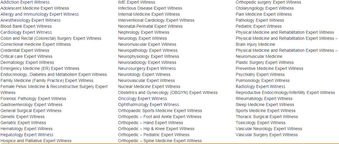 List of Physician Expert Witness Specialties